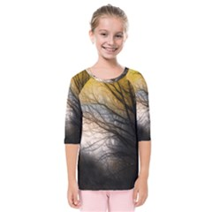 Tree Art Artistic Abstract Background Kids  Quarter Sleeve Raglan Tee