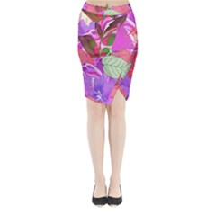 Abstract Design With Hummingbirds Midi Wrap Pencil Skirt