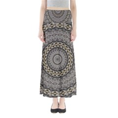 Celestial Pinwheel Of Pattern Texture And Abstract Shapes N Brown Maxi Skirts