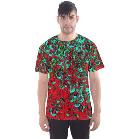 Red Turquoise Abstract Background Men s Sport Mesh Tee by Nexatart