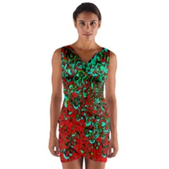 Red Turquoise Abstract Background Wrap Front Bodycon Dress