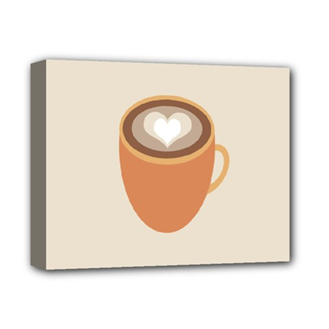 Artin Coffee Chocolate Brown Heart Love Deluxe Canvas 14  X 11  by Mariart