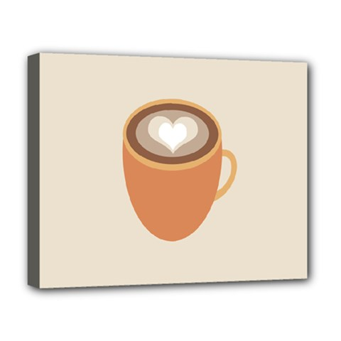 Artin Coffee Chocolate Brown Heart Love Deluxe Canvas 20  X 16   by Mariart