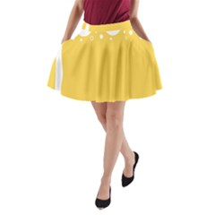 Beer Foam Yellow White A Line Pocket Skirt by Mariart