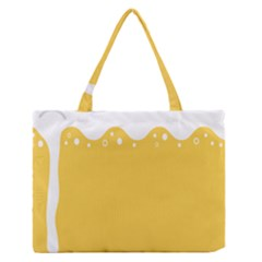 Beer Foam Yellow White Medium Zipper Tote Bag by Mariart