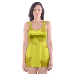 Yellow Star Skater Dress Swimsuit by Mariart