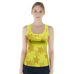 Yellow Star Racer Back Sports Top by Mariart