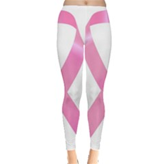 Breast Cancer Ribbon Pink Leggings  by Mariart