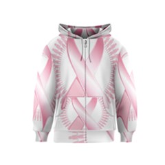 Breast Cancer Ribbon Pink Girl Women Kids  Zipper Hoodie by Mariart