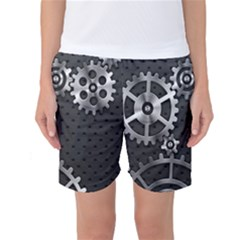 Chain Iron Polka Dot Black Silver Women s Basketball Shorts by Mariart