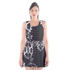 Chain Iron Polka Dot Black Silver Scoop Neck Skater Dress