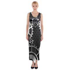 Chain Iron Polka Dot Black Silver Fitted Maxi Dress