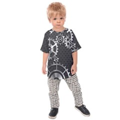 Chain Iron Polka Dot Black Silver Kids  Raglan Tee by Mariart