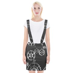 Chain Iron Polka Dot Black Silver Suspender Skirt by Mariart