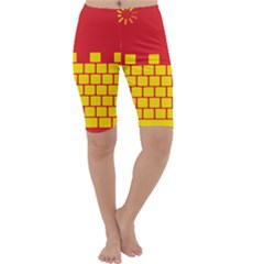 Firewall Bridge Signal Yellow Red Cropped Leggings  by Mariart