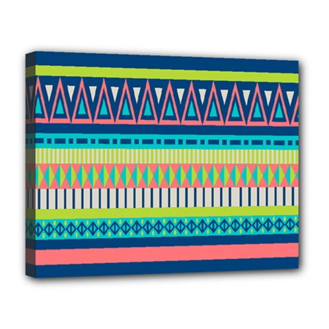 Aztec Triangle Chevron Wave Plaid Circle Color Rainbow Canvas 14  X 11  by Mariart