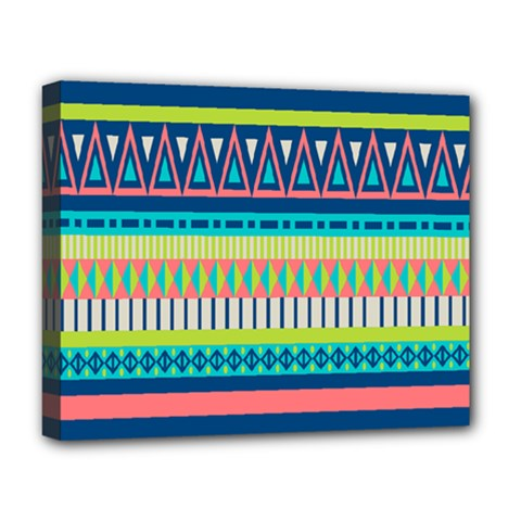 Aztec Triangle Chevron Wave Plaid Circle Color Rainbow Deluxe Canvas 20  X 16   by Mariart