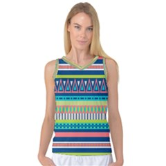 Aztec Triangle Chevron Wave Plaid Circle Color Rainbow Women s Basketball Tank Top by Mariart