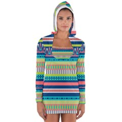 Aztec Triangle Chevron Wave Plaid Circle Color Rainbow Women s Long Sleeve Hooded T Shirt