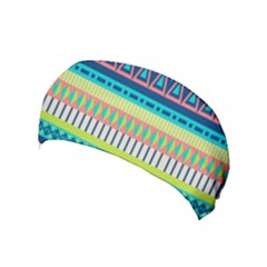 Aztec Triangle Chevron Wave Plaid Circle Color Rainbow Yoga Headband by Mariart
