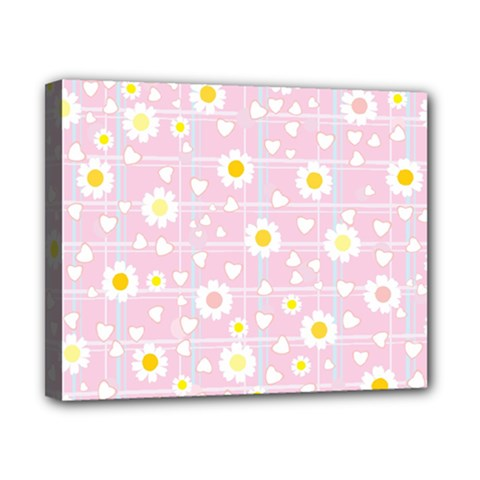 Flower Floral Sunflower Pink Yellow Canvas 10  X 8  by Mariart