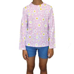 Flower Floral Sunflower Pink Yellow Kids  Long Sleeve Swimwear by Mariart