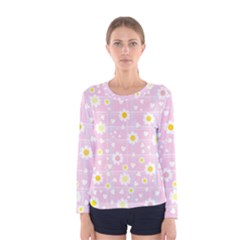 Flower Floral Sunflower Pink Yellow Women s Long Sleeve Tee by Mariart