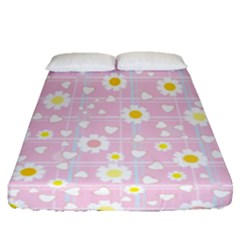 Flower Floral Sunflower Pink Yellow Fitted Sheet (queen Size) by Mariart