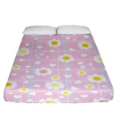 Flower Floral Sunflower Pink Yellow Fitted Sheet (king Size) by Mariart