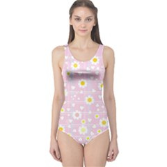 Flower Floral Sunflower Pink Yellow One Piece Swimsuit by Mariart