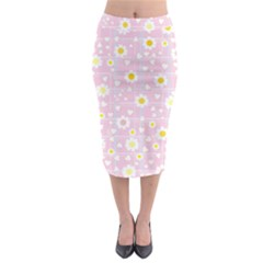 Flower Floral Sunflower Pink Yellow Midi Pencil Skirt by Mariart