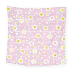 Flower Floral Sunflower Pink Yellow Square Tapestry (large) by Mariart