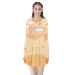 Dragonfly Leaf Orange Flare Dress by Mariart