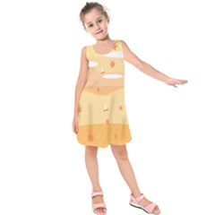 Dragonfly Leaf Orange Kids  Sleeveless Dress by Mariart