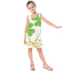 Flower Floralleaf Green Reboon Kids  Sleeveless Dress by Mariart