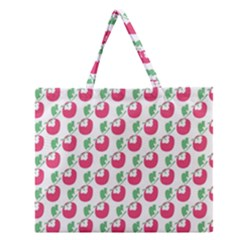 Fruit Pink Green Mangosteen Zipper Large Tote Bag by Mariart