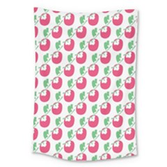 Fruit Pink Green Mangosteen Large Tapestry