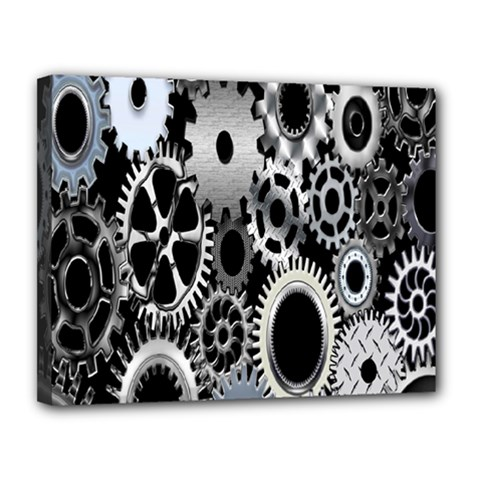 Gears Technology Steel Mechanical Chain Iron Canvas 14  X 11  by Mariart