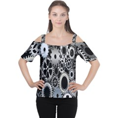 Gears Technology Steel Mechanical Chain Iron Women s Cutout Shoulder Tee by Mariart