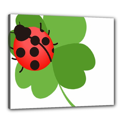 Insect Flower Floral Animals Green Red Canvas 24  X 20  by Mariart
