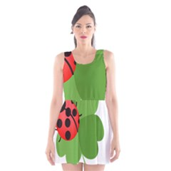 Insect Flower Floral Animals Green Red Scoop Neck Skater Dress by Mariart