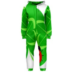 Insect Flower Floral Animals Green Red Line Hooded Jumpsuit (ladies)  by Mariart