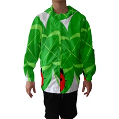 Insect Flower Floral Animals Green Red Line Hooded Wind Breaker (kids) by Mariart