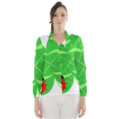 Insect Flower Floral Animals Green Red Line Wind Breaker (women) by Mariart