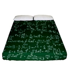 Formula Number Green Board Fitted Sheet (queen Size) by Mariart