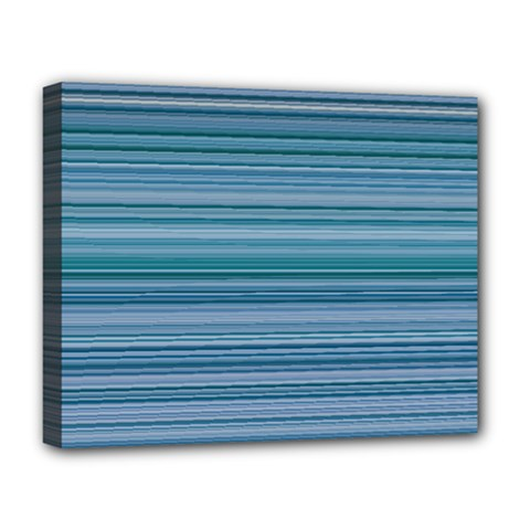 Horizontal Line Blue Deluxe Canvas 20  X 16   by Mariart