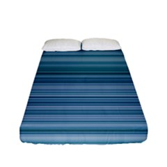 Horizontal Line Blue Fitted Sheet (full/ Double Size) by Mariart