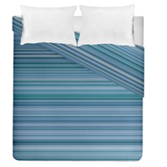 Horizontal Line Blue Duvet Cover Double Side (queen Size) by Mariart