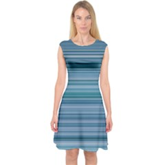 Horizontal Line Blue Capsleeve Midi Dress by Mariart