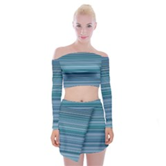 Horizontal Line Blue Off Shoulder Top With Skirt Set by Mariart